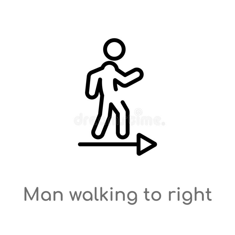 outline man walking to right vector icon. isolated black simple line element illustration from ultimate glyphicons concept. stock illustration