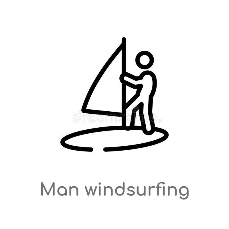 outline man windsurfing vector icon. isolated black simple line element illustration from sports concept. editable vector stroke stock illustration