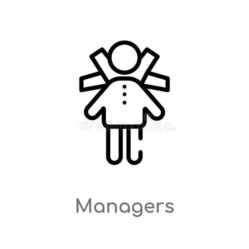 Outline managers vector icon. isolated black simple line element illustration from people concept. editable vector stroke managers. Icon on white background royalty free illustration