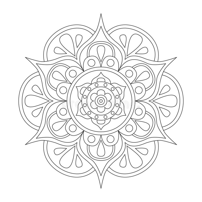 Outline Mandala For Coloring Book Anti Stress Therapy Pattern
