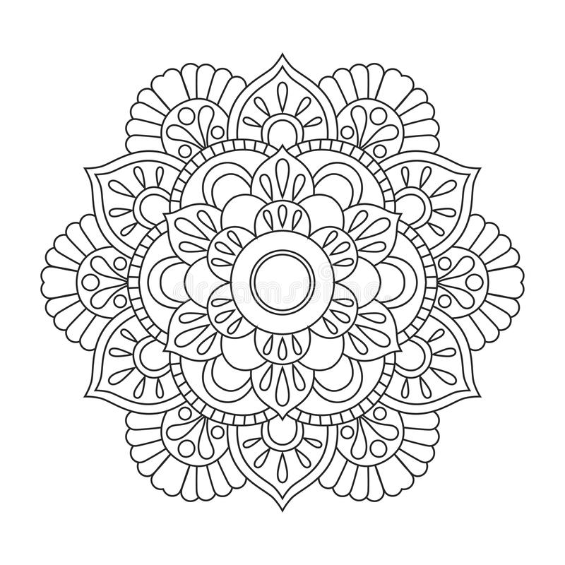 Outline Mandala For Coloring Book. Anti-stress Therapy Pattern ...