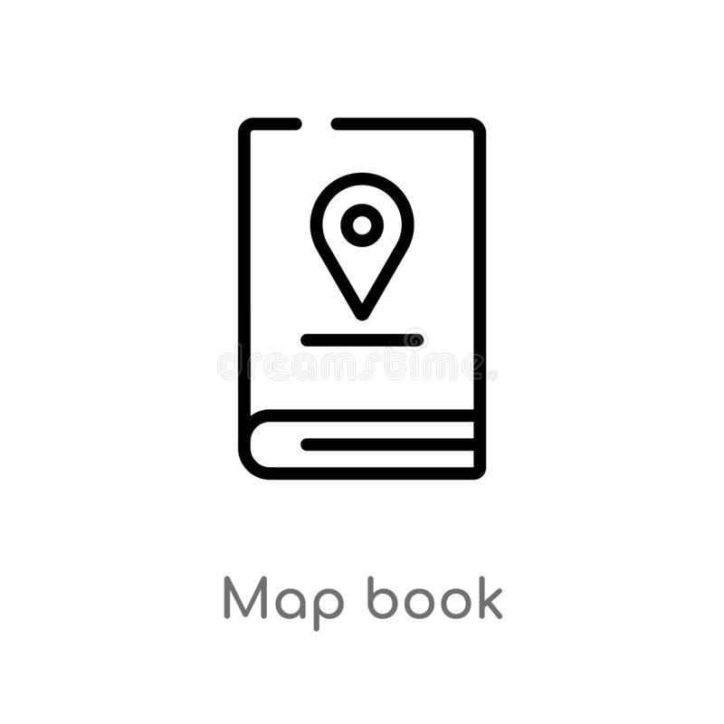 Outline map book vector icon. isolated black simple line element illustration from travel concept. editable vector stroke map book. Icon on white background vector illustration