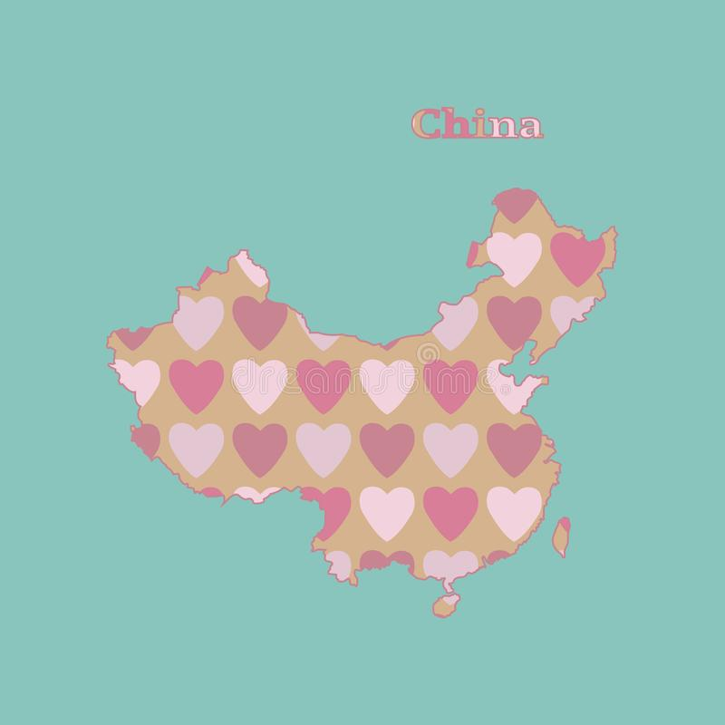 Outline map of China with a texture of pink and red hearts. Isolated vector illustration on blue background. royalty free illustration