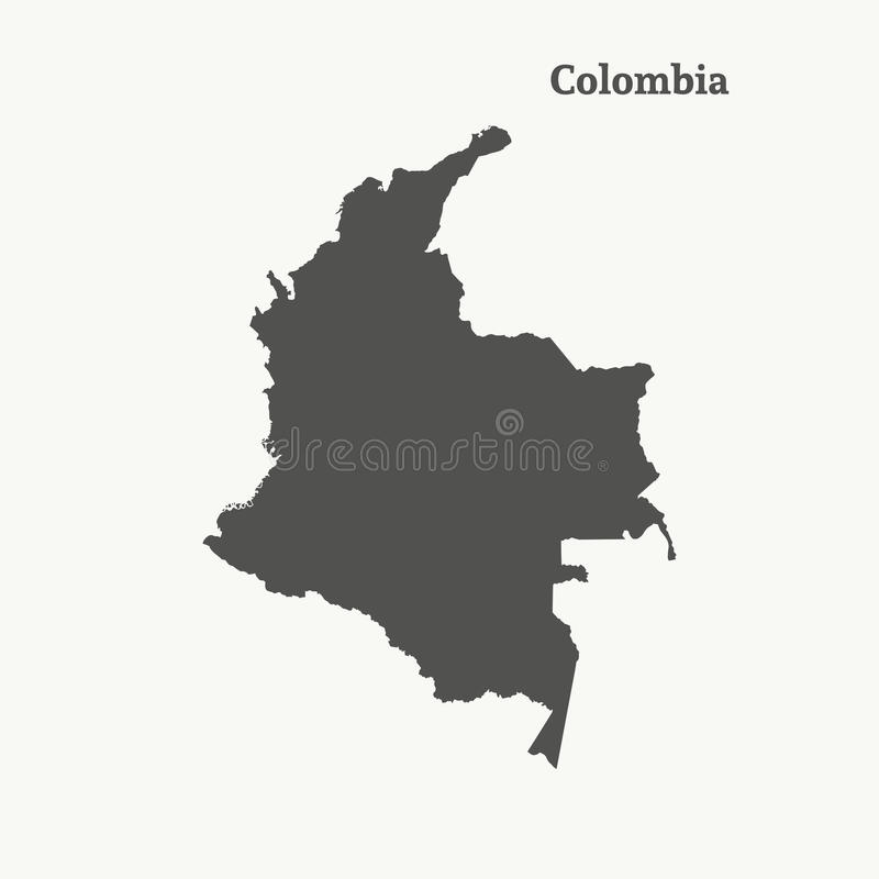 Outline map of Colombia. illustration. stock illustration