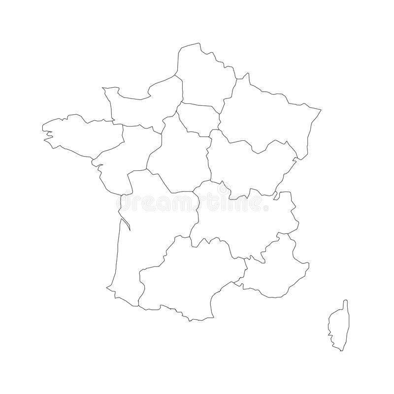 Outline Map Of France Divided Into 13 Administrative Metropolitan