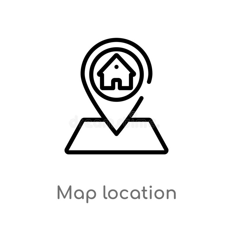 Outline map location vector icon. isolated black simple line element illustration from real estate concept. editable vector stroke. Map location icon on white stock illustration