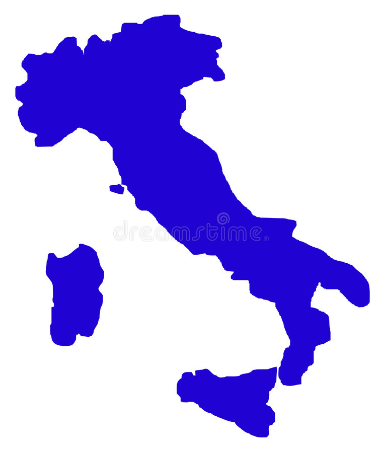 Free Outline Map Of Italy On White Royalty Free Stock Image - 7858576