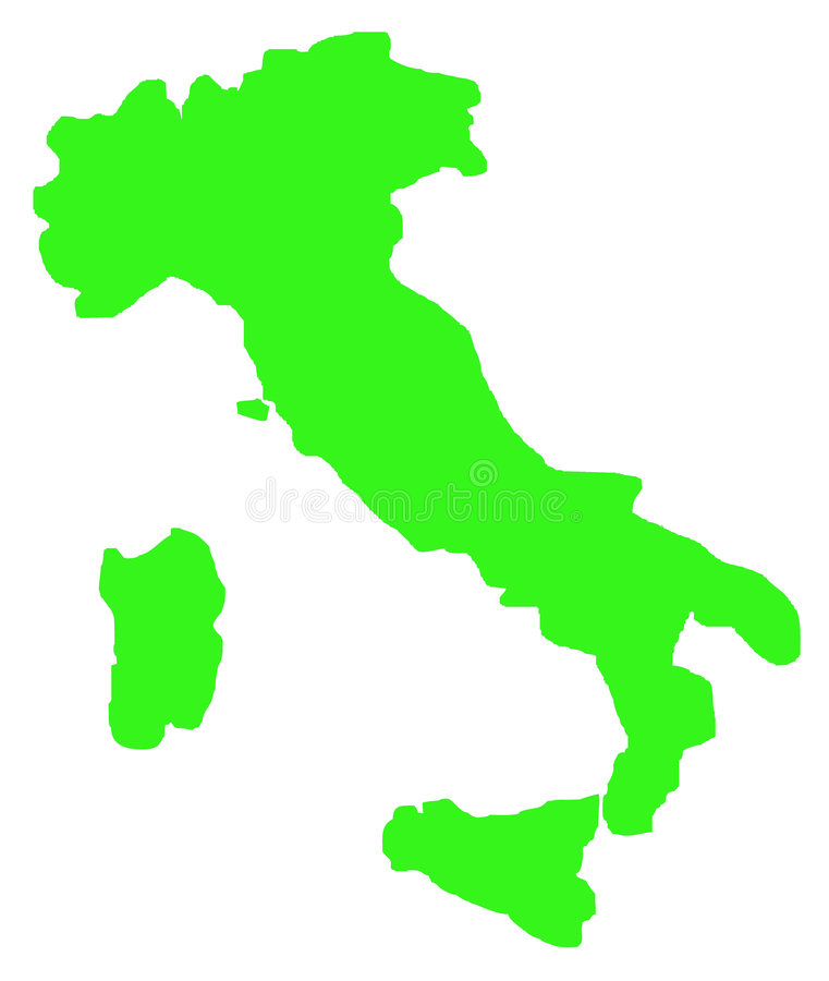 Free Outline Map Of Italy On White Royalty Free Stock Photography - 7858587