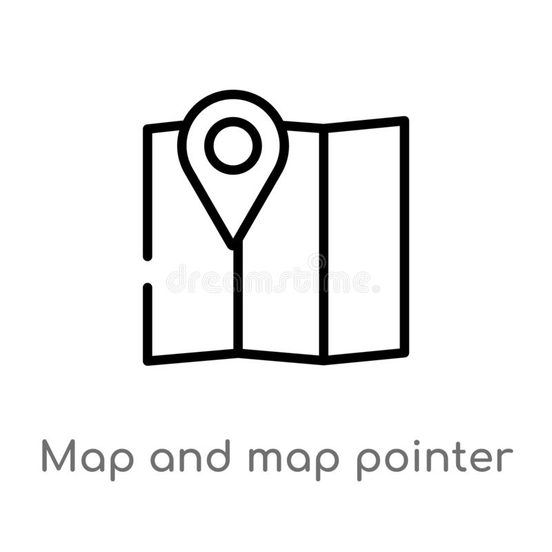outline map and map pointer vector icon. isolated black simple line element illustration from signs concept. editable vector vector illustration