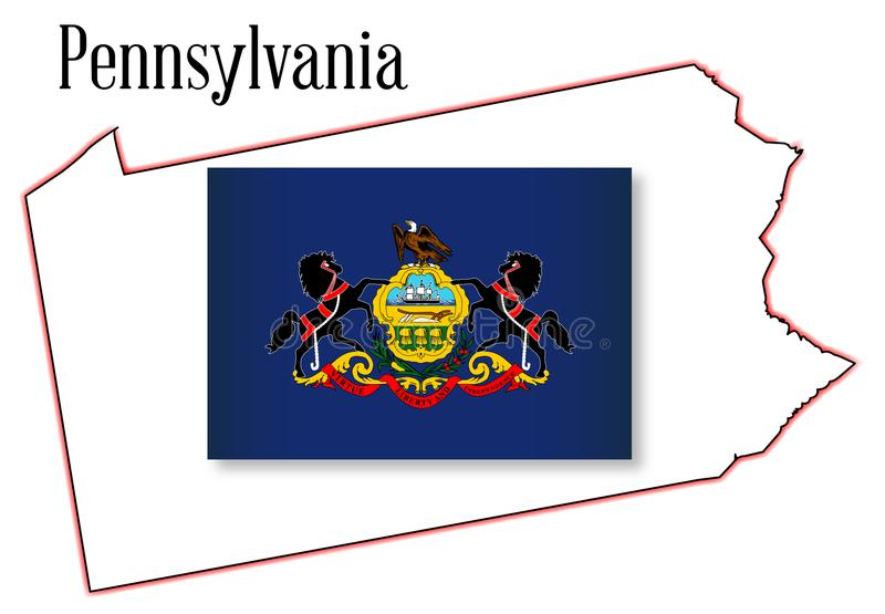 Pennsylvania State Map and Flag vector illustration