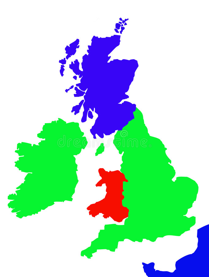 Outline map of United Kingdom. Colorful map showing coastline of United Kingdom of Great Britain, Ireland and northen France stock illustration