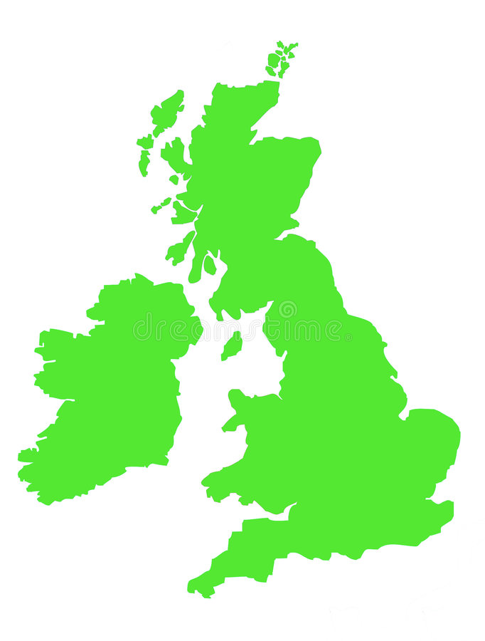 Outline map of United Kingdom. Green map showing coastline of United Kingdom of Great Britain and Ireland stock illustration