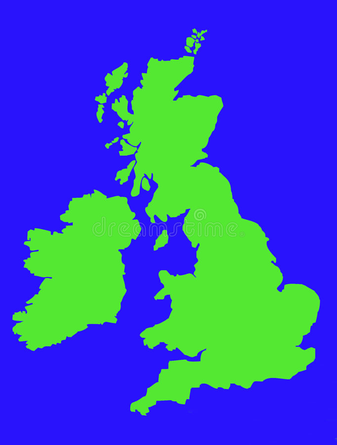 Outline Map Of United Kingdom In Green Royalty Free Stock Photography