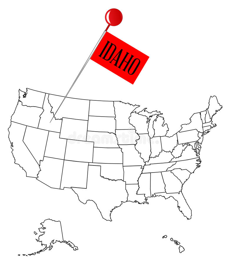 Knob Pin Idaho. An outline map of USA with a knob pin in the state of Idaho stock illustration