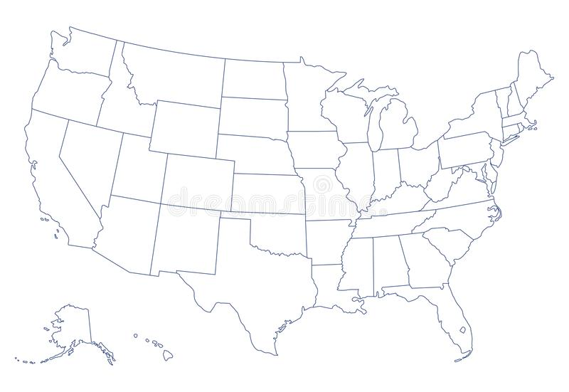 Plain Map Of Usa Blank Black Vector Outline Map Of USA, United States Of America