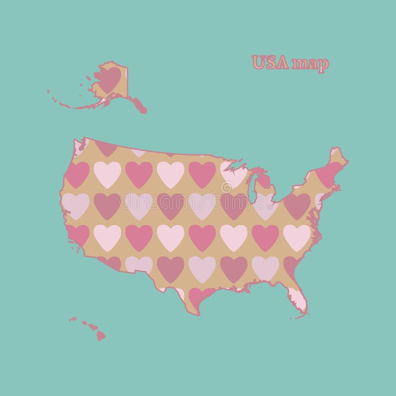 Outline map of USA with a texture of pink and red hearts. Isolated vector illustration on blue background. vector illustration