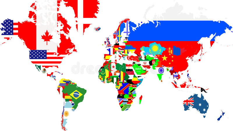 Outline maps of the world with. National flags vector illustration