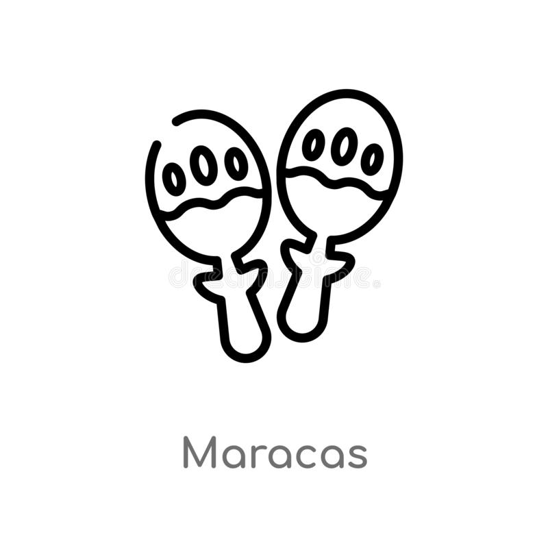 outline maracas vector icon. isolated black simple line element illustration from brazilia concept. editable vector stroke maracas vector illustration