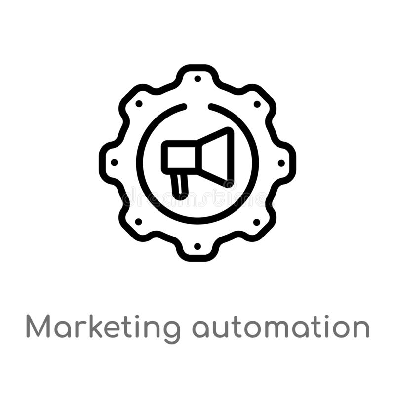 outline marketing automation vector icon. isolated black simple line element illustration from technology concept. editable vector royalty free illustration