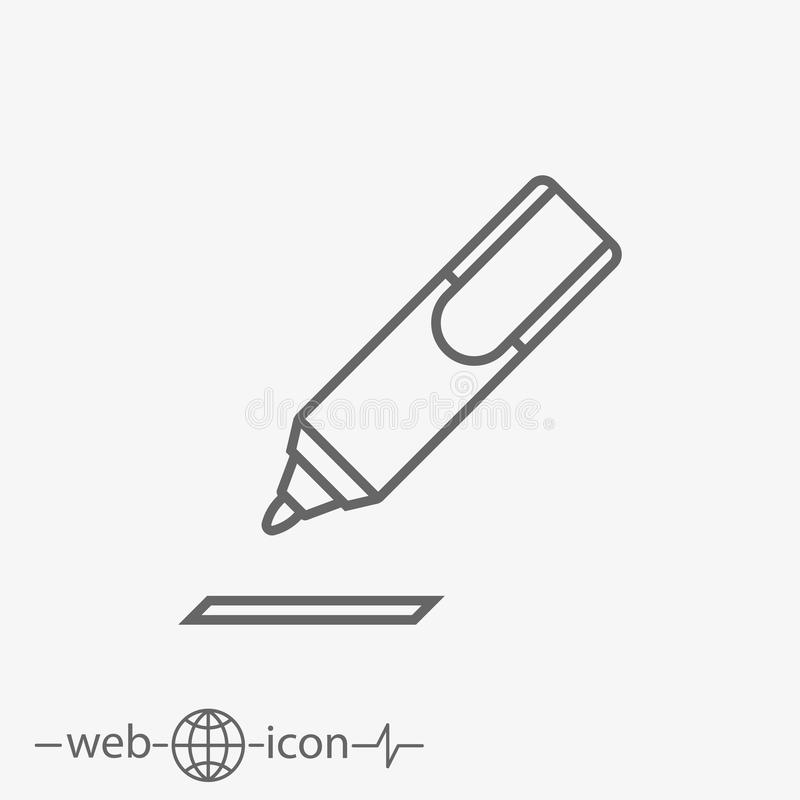 Outline marking pen vector icon royalty free illustration