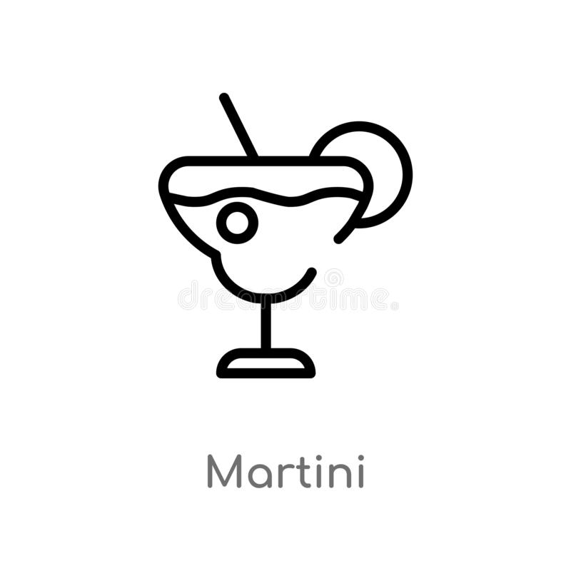 outline martini vector icon. isolated black simple line element illustration from drinks concept. editable vector stroke martini stock illustration