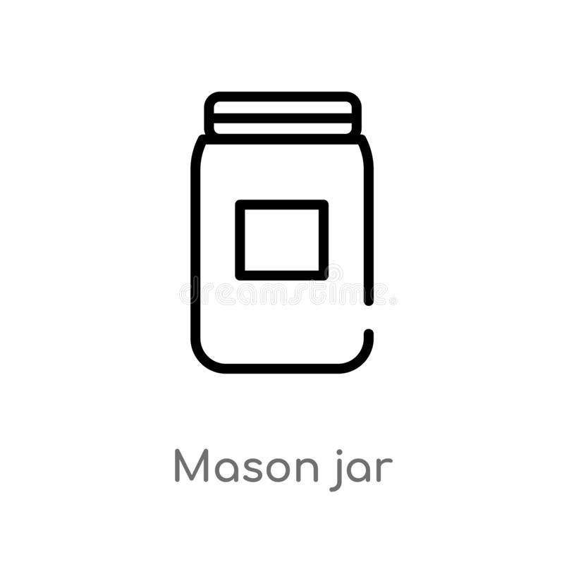 outline mason jar vector icon. isolated black simple line element illustration from fruits and vegetables concept. editable vector royalty free illustration