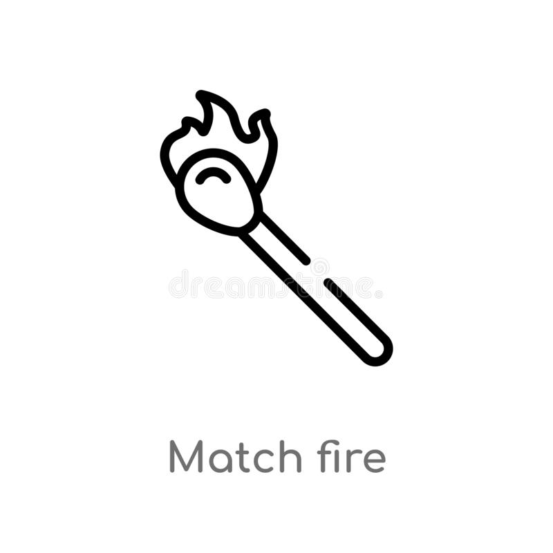 Outline match fire vector icon. isolated black simple line element illustration from security concept. editable vector stroke. Match fire icon on white royalty free illustration