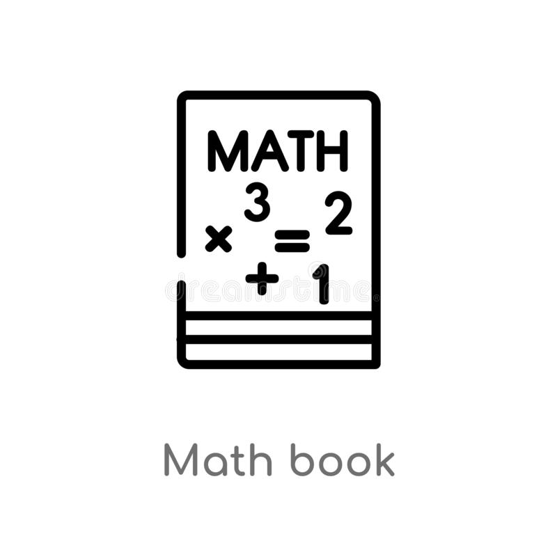 Outline math book vector icon. isolated black simple line element illustration from education concept. editable vector stroke math. Book icon on white stock illustration