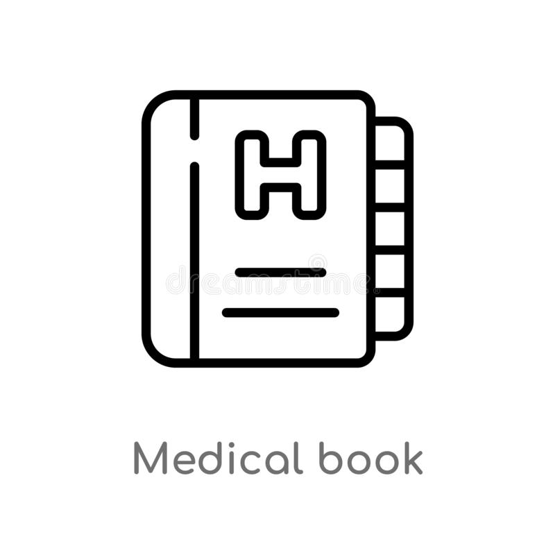 Outline medical book vector icon. isolated black simple line element illustration from health and medical concept. editable vector. Stroke medical book icon on stock illustration