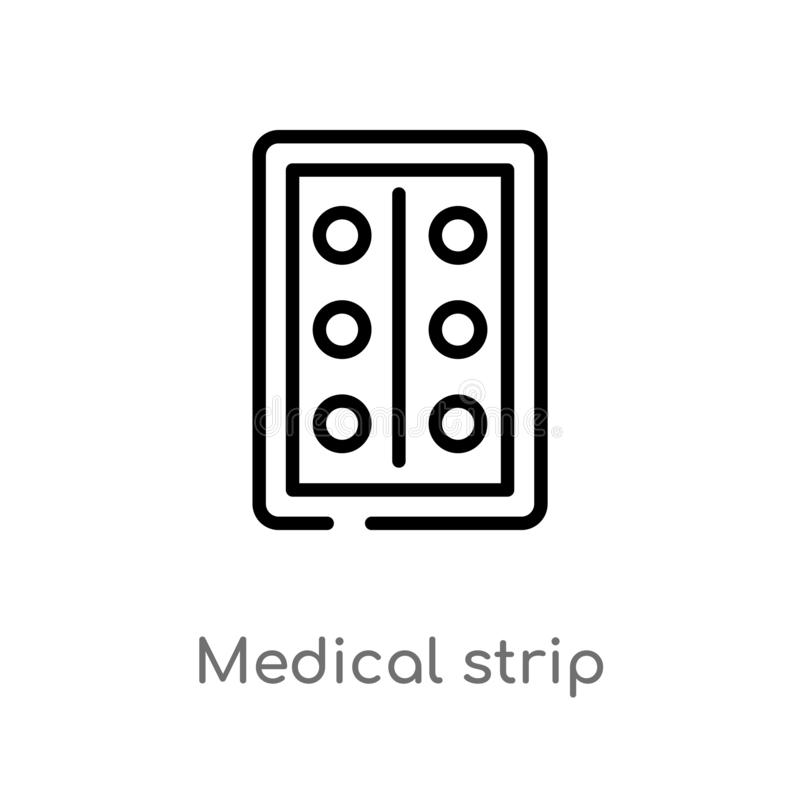 Outline medical strip vector icon. isolated black simple line element illustration from health and medical concept. editable. Vector stroke medical strip icon royalty free illustration