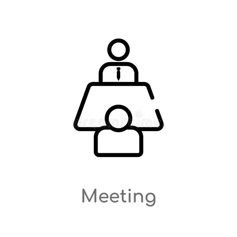 outline meeting vector icon. isolated black simple line element illustration from strategy concept. editable vector stroke meeting royalty free illustration