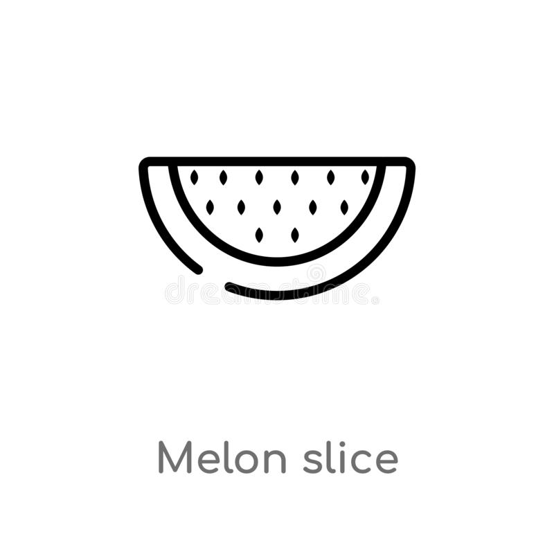 Outline melon slice vector icon. isolated black simple line element illustration from food concept. editable vector stroke melon. Slice icon on white background stock illustration