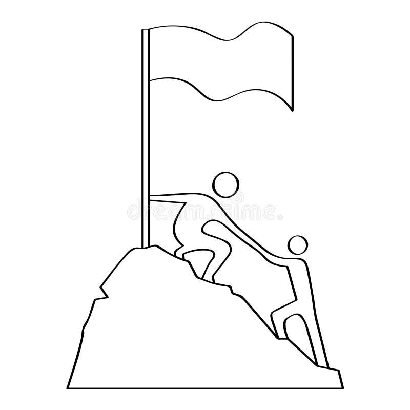 Outline of a men climbing. Teamwork concept royalty free illustration