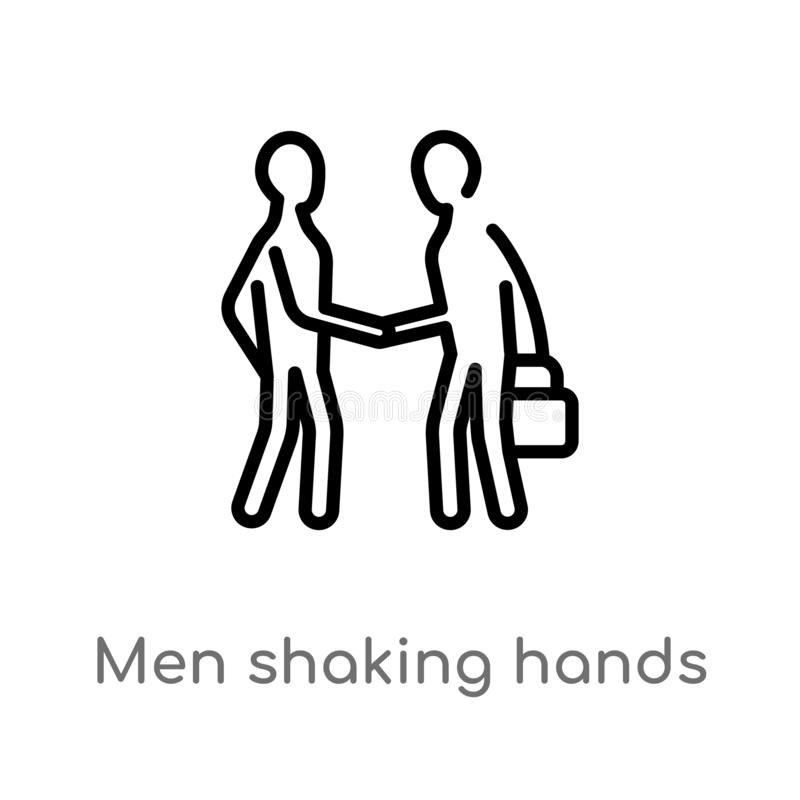 Outline men shaking hands vector icon. isolated black simple line element illustration from business concept. editable vector. Stroke men shaking hands icon on vector illustration