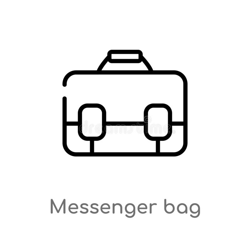 outline messenger bag vector icon. isolated black simple line element illustration from clothes concept. editable vector stroke royalty free illustration