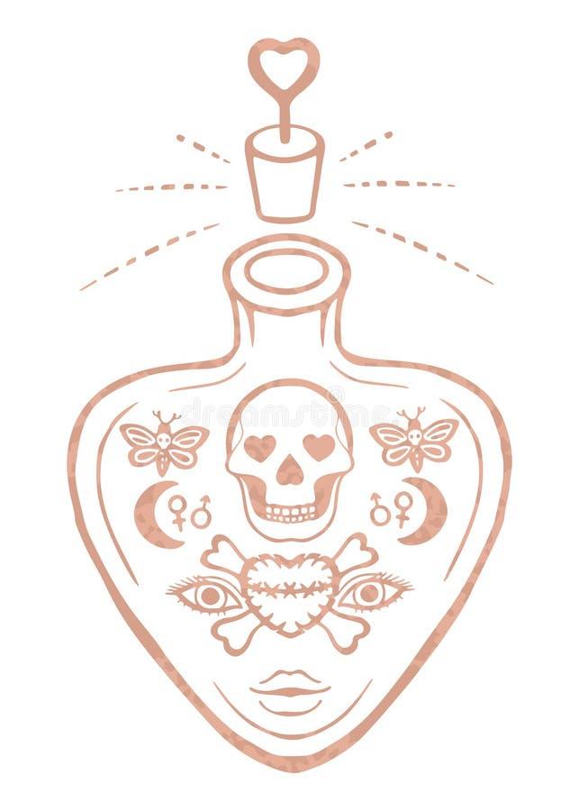 Outline metallic tattoo Rose gold foil texture Ornate love potion or poison bottle design Skull and crossbones Decorative esoteric stock illustration