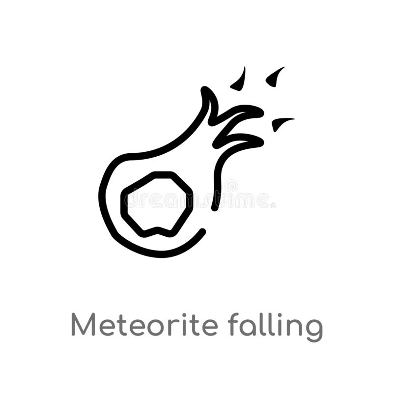 outline meteorite falling vector icon. isolated black simple line element illustration from astronomy concept. editable vector vector illustration