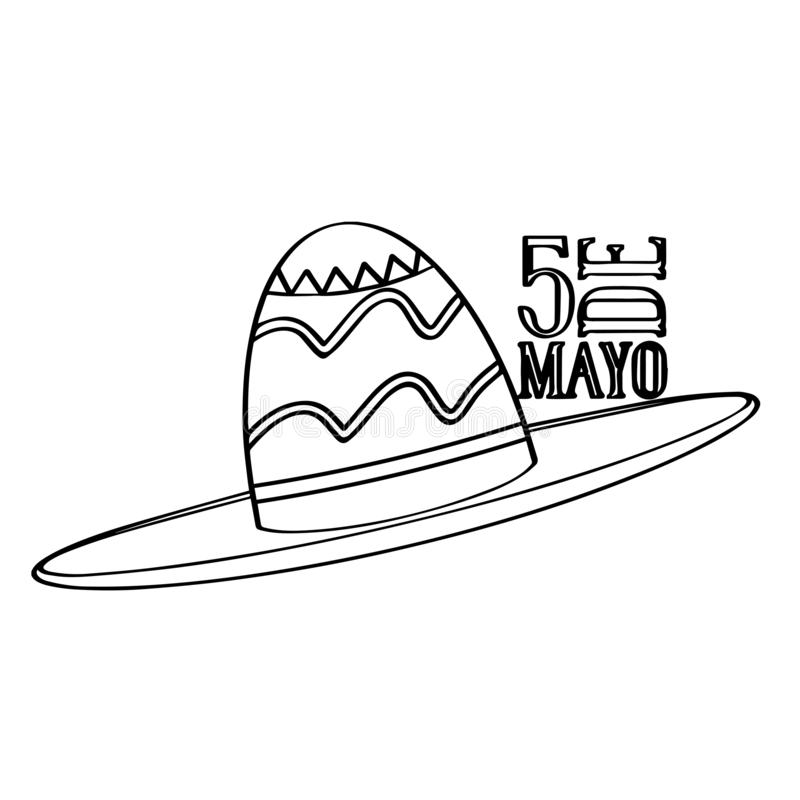 Outline of a mexican hat. Cinco de mayo. Vector illustration design vector illustration