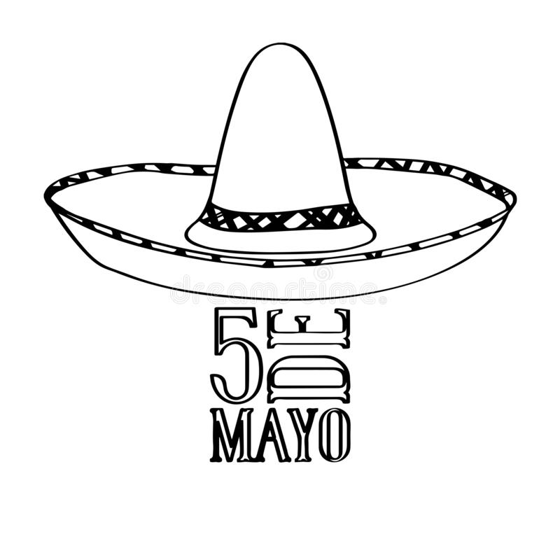 Outline of a mexican hat. Cinco de mayo. Vector illustration design royalty free illustration