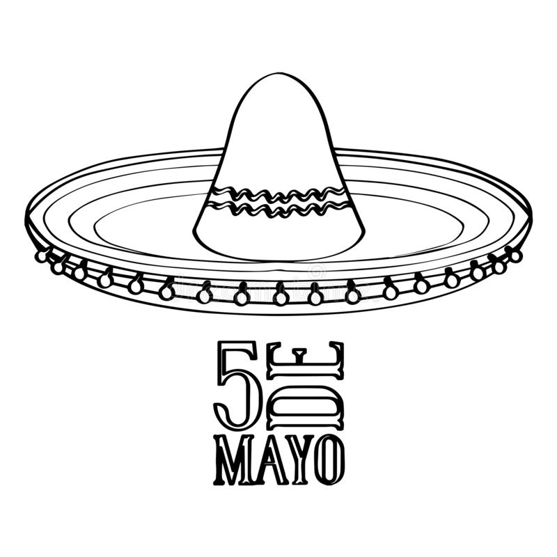Outline of a mexican hat. Cinco de mayo. Vector illustration design stock illustration