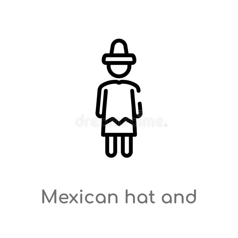 outline mexican hat and mustache vector icon. isolated black simple line element illustration from people concept. editable vector vector illustration