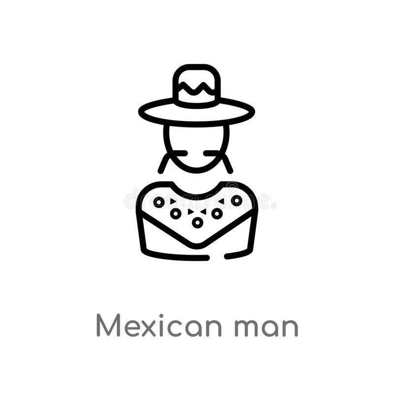 outline mexican man vector icon. isolated black simple line element illustration from social concept. editable vector stroke stock illustration
