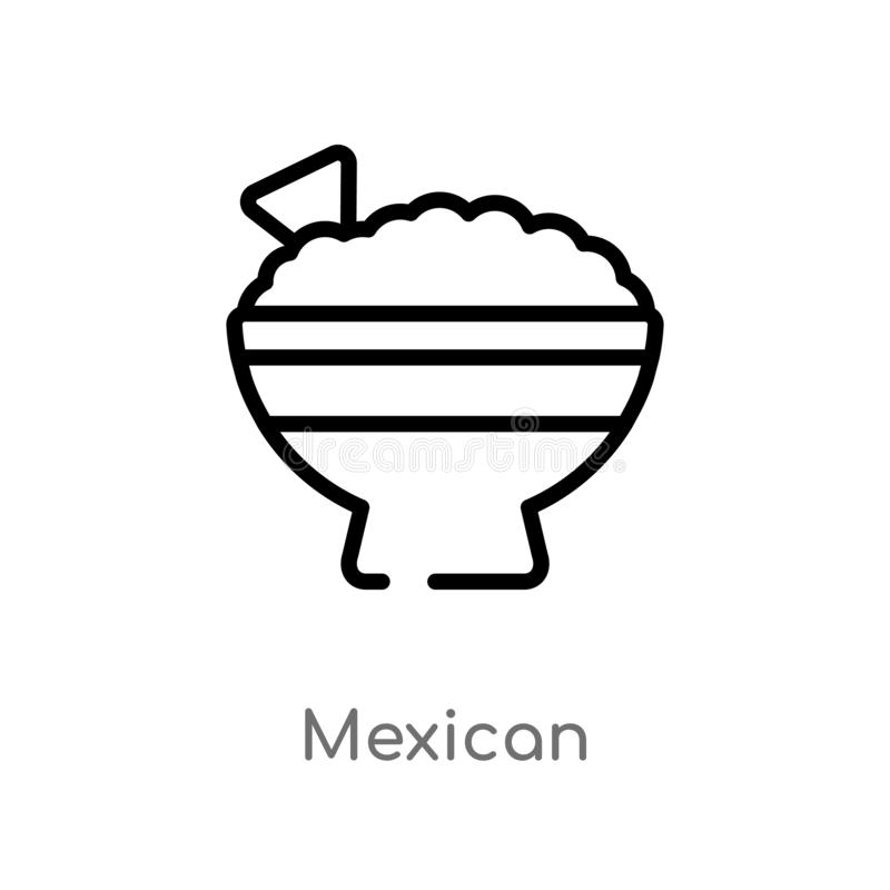 outline mexican vector icon. isolated black simple line element illustration from food concept. editable vector stroke mexican stock illustration