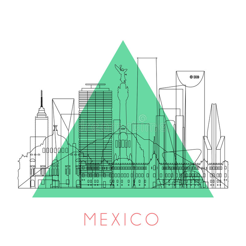 Outline Mexico skyline royalty free illustration