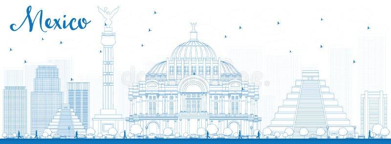Outline Mexico skyline with blue landmarks stock illustration