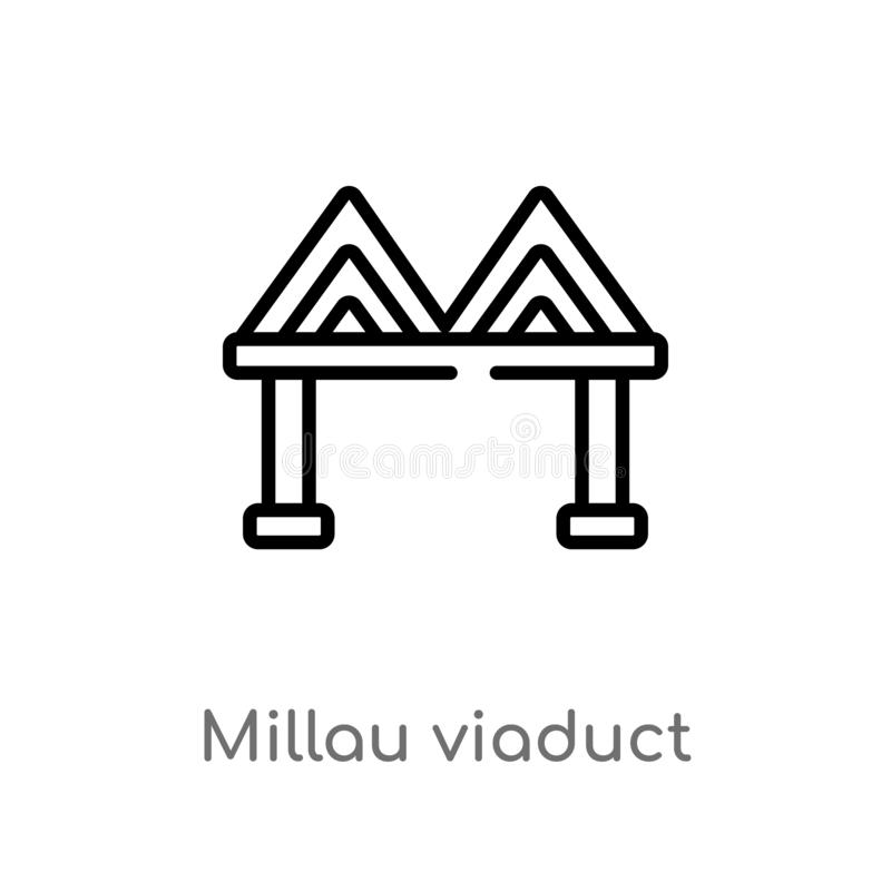 Outline millau viaduct vector icon. isolated black simple line element illustration from monuments concept. editable vector stroke. Millau viaduct icon on white royalty free illustration