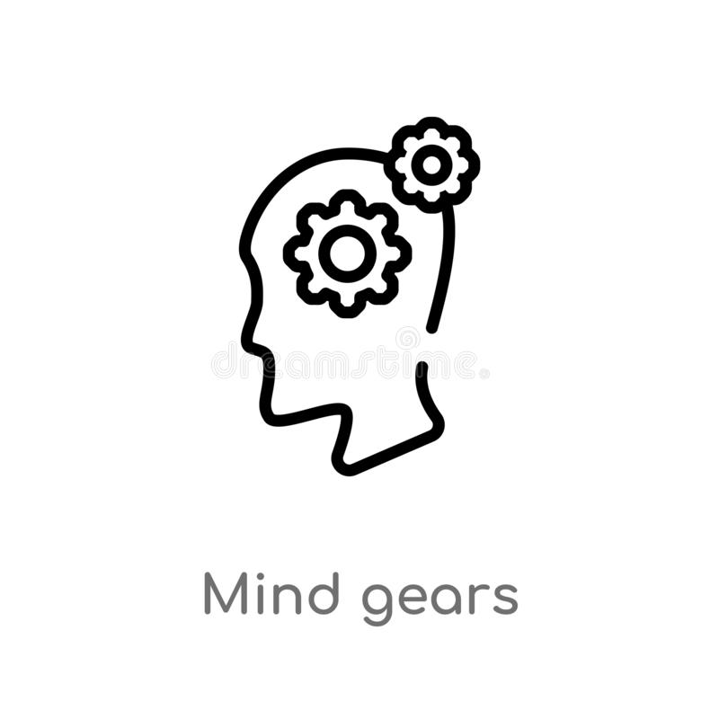 outline mind gears vector icon. isolated black simple line element illustration from productivity concept. editable vector stroke stock illustration