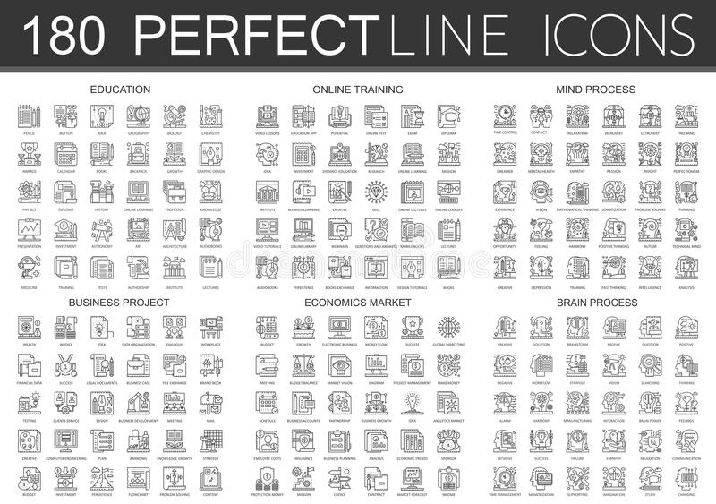 180 outline mini concept infographic symbol icons education, online training, mind process, business project, economics. Market, brain process isolated vector illustration