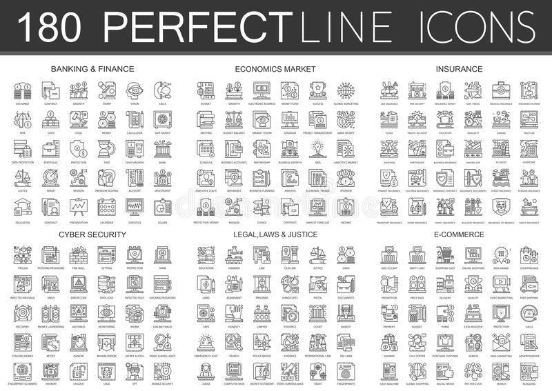 180 outline mini concept infographic symbol icons of finance banking, economics market, imsurance, cyber security, legal stock illustration