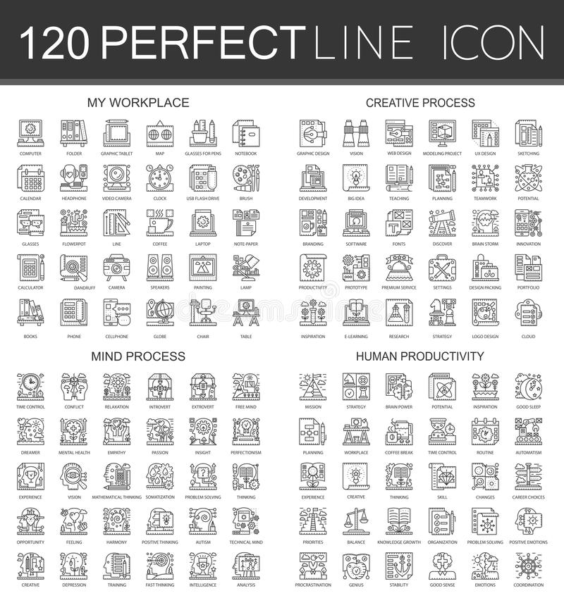120 outline mini concept infographic symbol icons of my workplace, creative process, mind process, human productivity. 120 outline mini concept infographic stock illustration
